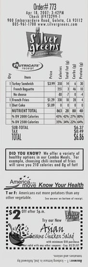 Nutricate Prints Nutritional Information Right on Receipts