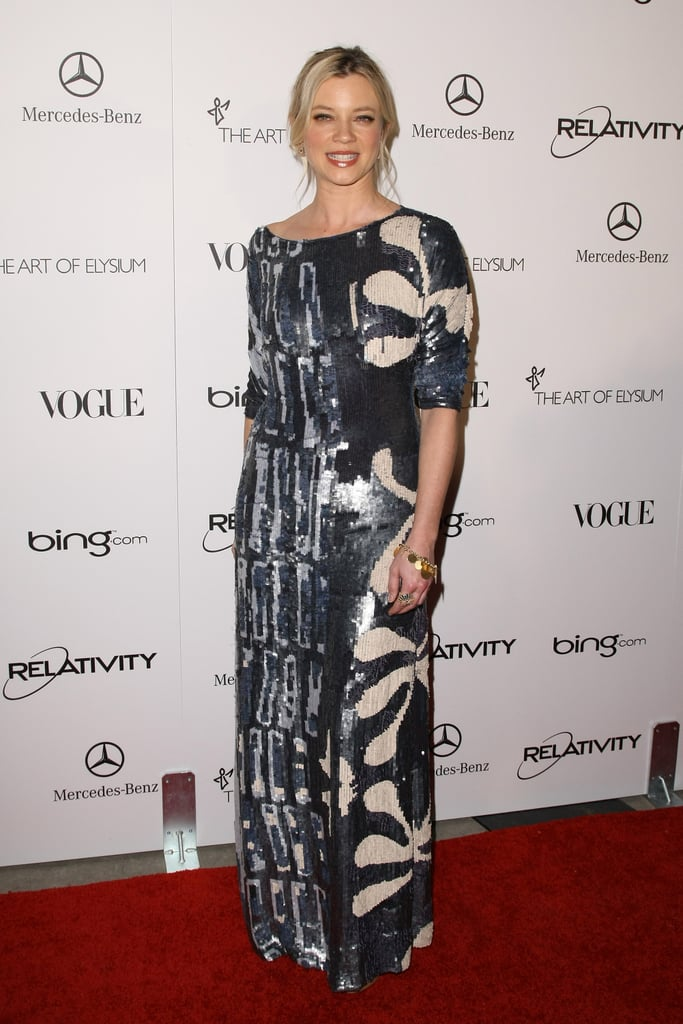 Amy Smart in graphic sequins.