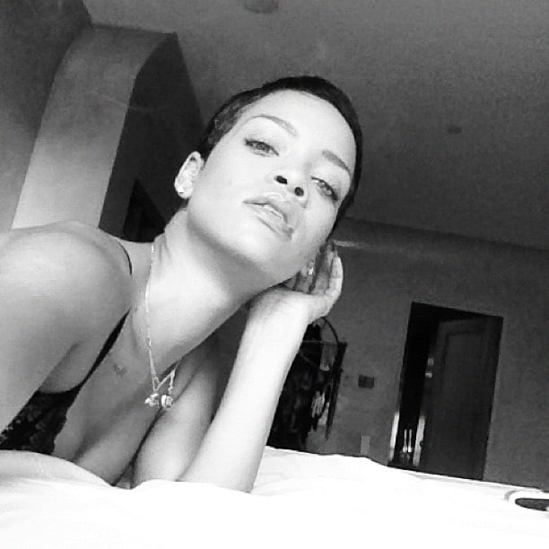 Rihanna snapped a photo of her newly cropped 'do. Source: Instagram user badgalriri