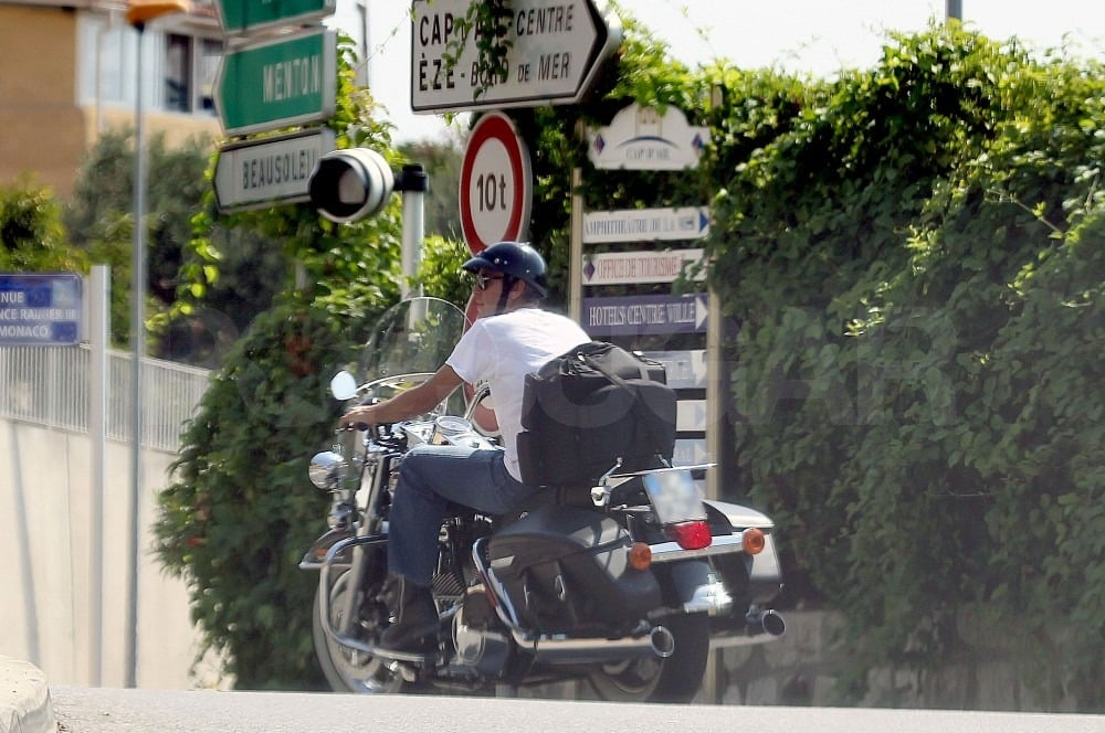 George Clooney wore a simple white t-shirt for his motorcycle ride.