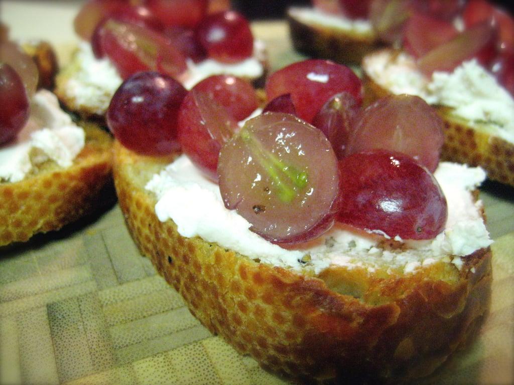 Grape Goat Cheese Crostini