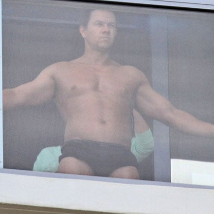 Shirtless Mark Wahlberg Pictures Getting Spray Tan