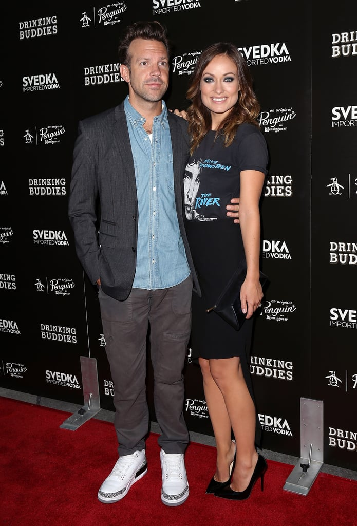 Jason Sudeikis and Olivia Wilde hit the red carpet together for the premiere of Drinking Buddies in LA.