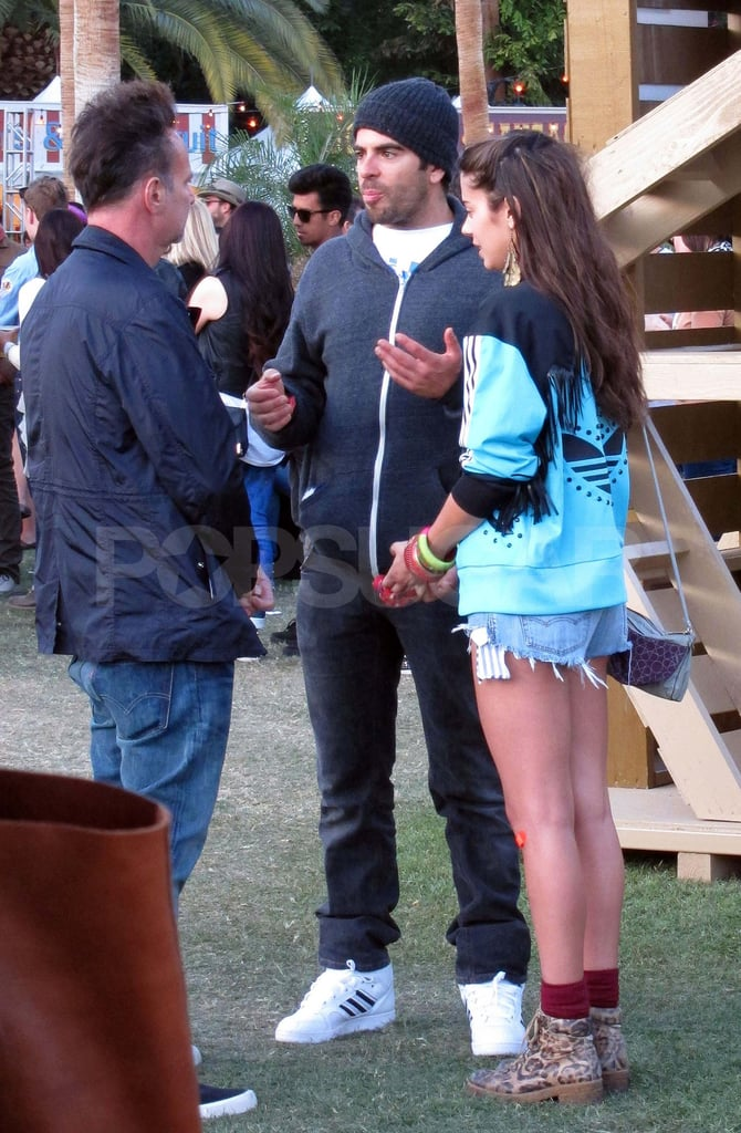 Eli Roth hung out with friends at the festival grounds on the second day.