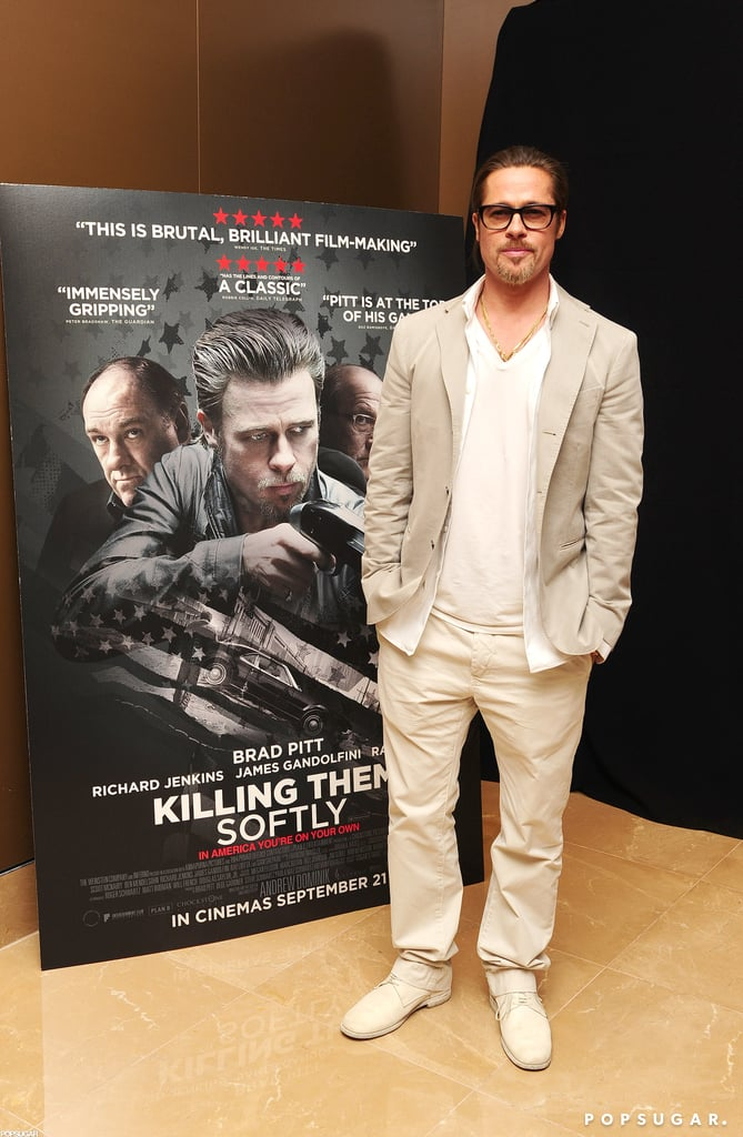 Brad Pitt stepped out for a screening of his film Killing Them Softly at the Mayfair Hotel in London.
