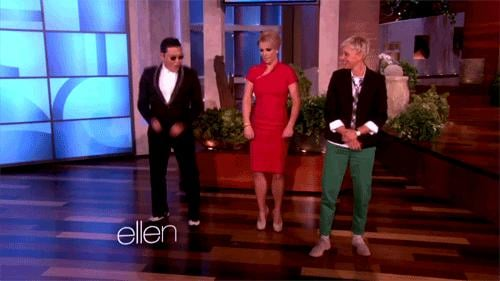 Ellen dances with Psy and Britney Spears.