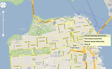 FourWhere Is a Real-Time Location-Based Google Map Mashup