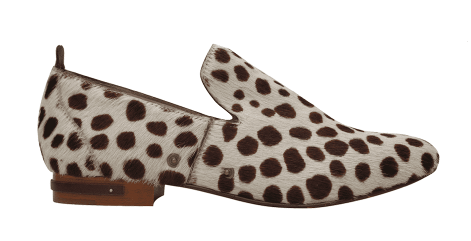 With the removal of the saddle strap, it becomes a sleek calf-hair smoking slipper.