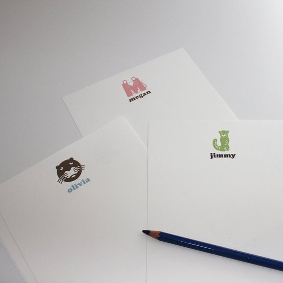 """These children's initial monogram notes ($20 for 30 sheets) offers kids plenty of room to write (or scribble) their special message. They'll love the animal """"initial"""" dictated by the first letter of their name at the top of each sheet of stationery."""