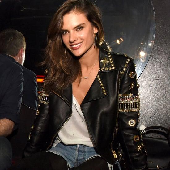 Alessandra Ambrosio Wearing Edgy Leather Jacket
