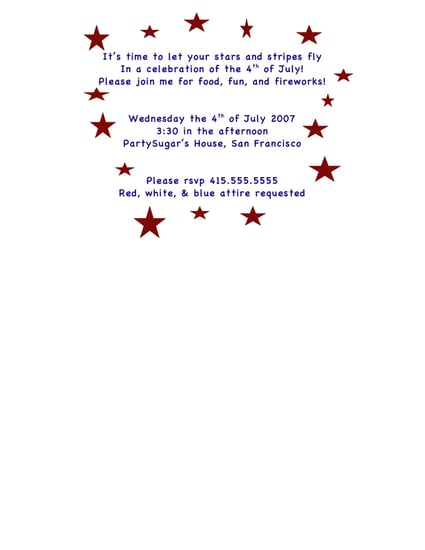 Come Party With Me: 4th Of July - Invites