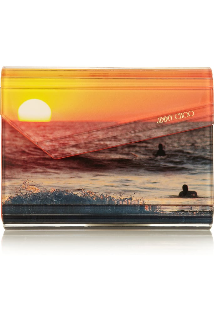 """I love the idea of infusing a bold pop of color with a standout print, especially one consisting of a beautiful beach sunset. This clutch will have you loving long Summer days right into Fall."" — Allison McNamara, FabTV host and producer  Jimmy Choo Candy Acrylic Clutch ($795)"