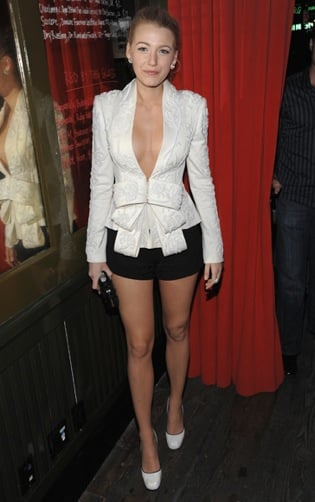 Blake Lively Wears Marchesa Low-Cut Blazer With Bow