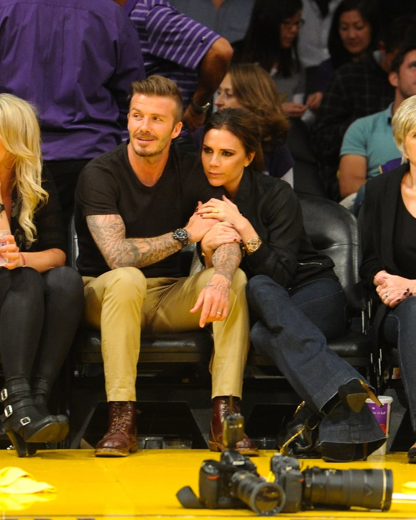 David and Victoria cuddled up courtside at a Lakers game in May 2012.