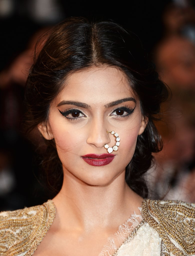 Sonam Kapoor wore a diamond nose ring.