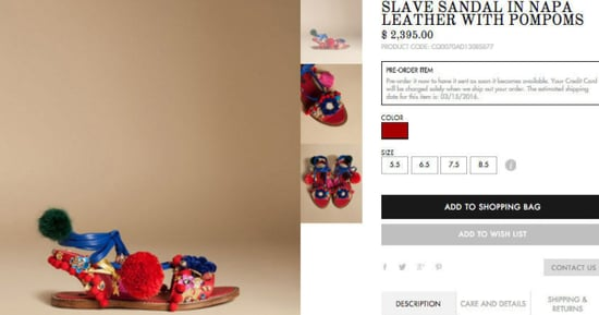 Dolce & Gabbana Sells 'Slave Sandals' On Its Website
