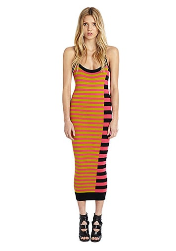"""I've officially lost the battle to stop buying stripes; I can't help it! This midi dress is perfect for the season, thanks to its bold color combos and sexy racerback. I'll be wearing it with flat gladiator sandals and my favorite Panama hat.""  — Brittney Stephens, assistant editor  Nicole Miller Artelier Diagonal Stripe Midi Sweater Dress ($385)"