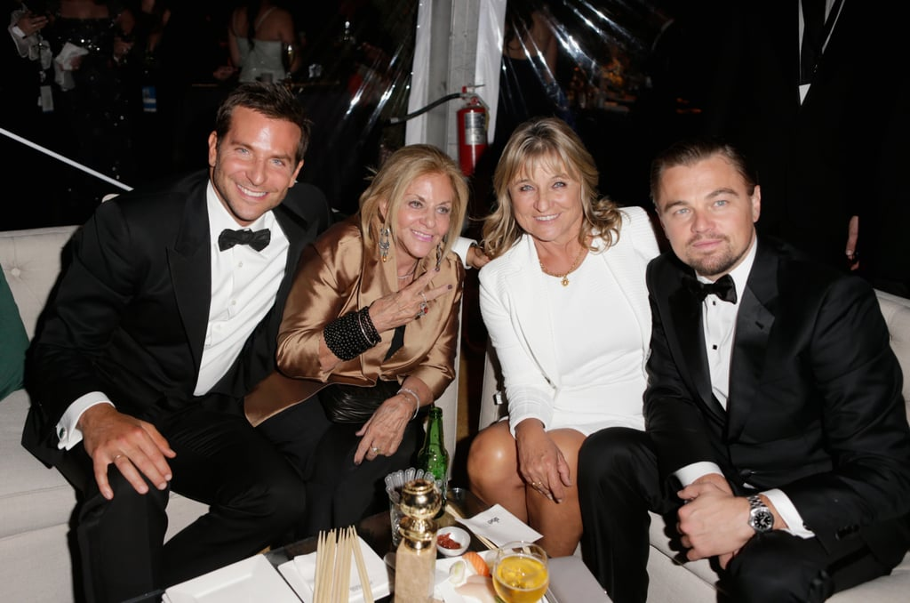 Mama's boys! Leonardo DiCaprio and Bradley Cooper got together with their mums at the Weinstein Company 2015 Globes after-party.