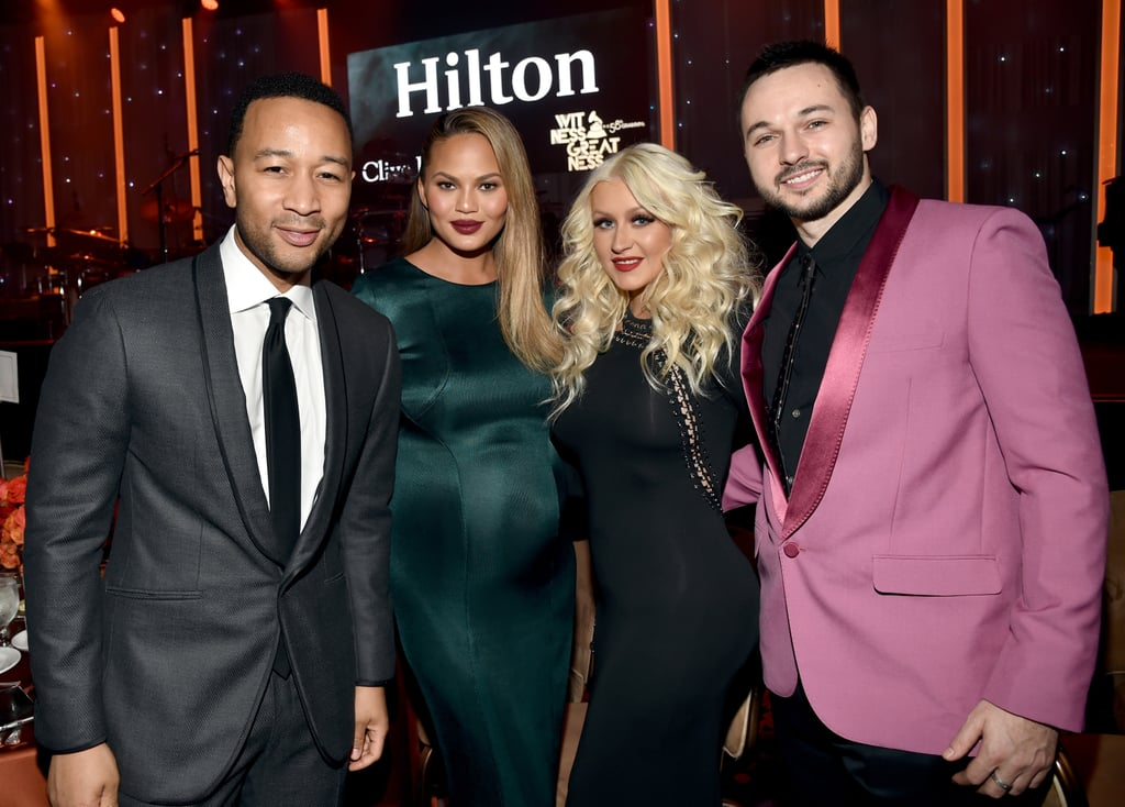 Pictured: John Legend, Christina Aguilera, Chrissy Teigen, and Matthew Rutler