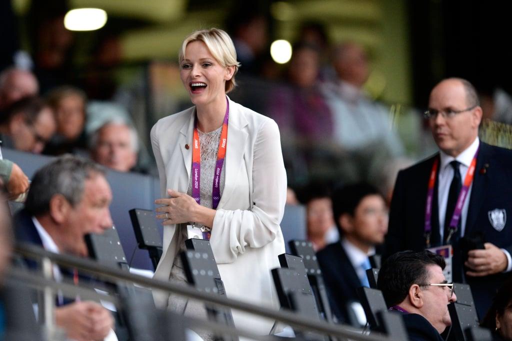 Princess Charlene of Monaco laughed alongside her husband Prince Albert II of Monaco.
