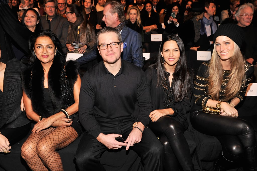 Matt and Luciana Damon sat front row during the Naeem Khan show at New York Fashion Week in February.