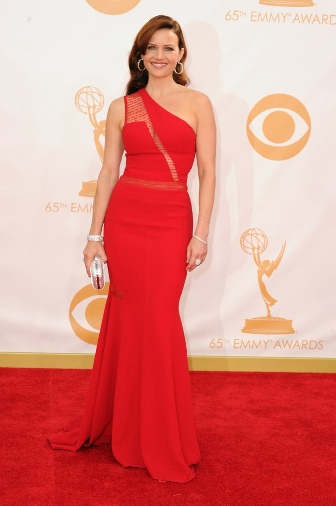 Carla Gugino picked a sexy red dress with a slit running from shoulder to waist.