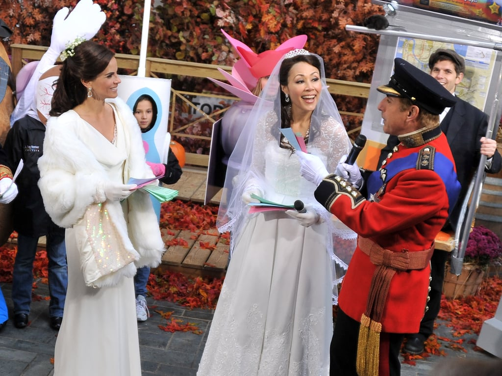 Natalie Morales as Pippa Middleton with Ann Curry, as Kate Middleton, and Matt Lauer as Prince William.