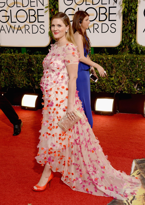 Drew Barrymore in Monique Lhuillier