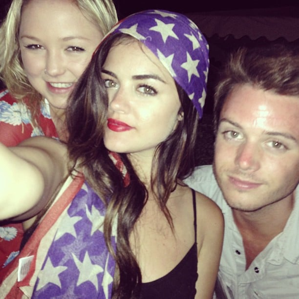 Lucy Hale wrapped herself in stars and stripes to celebrate with friends. Source: Instagram user lucyhale89