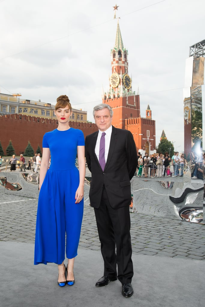 Outside the Red Square Christian Dior show, Louise Bourgoin brightened things up in head-to-toe blue.