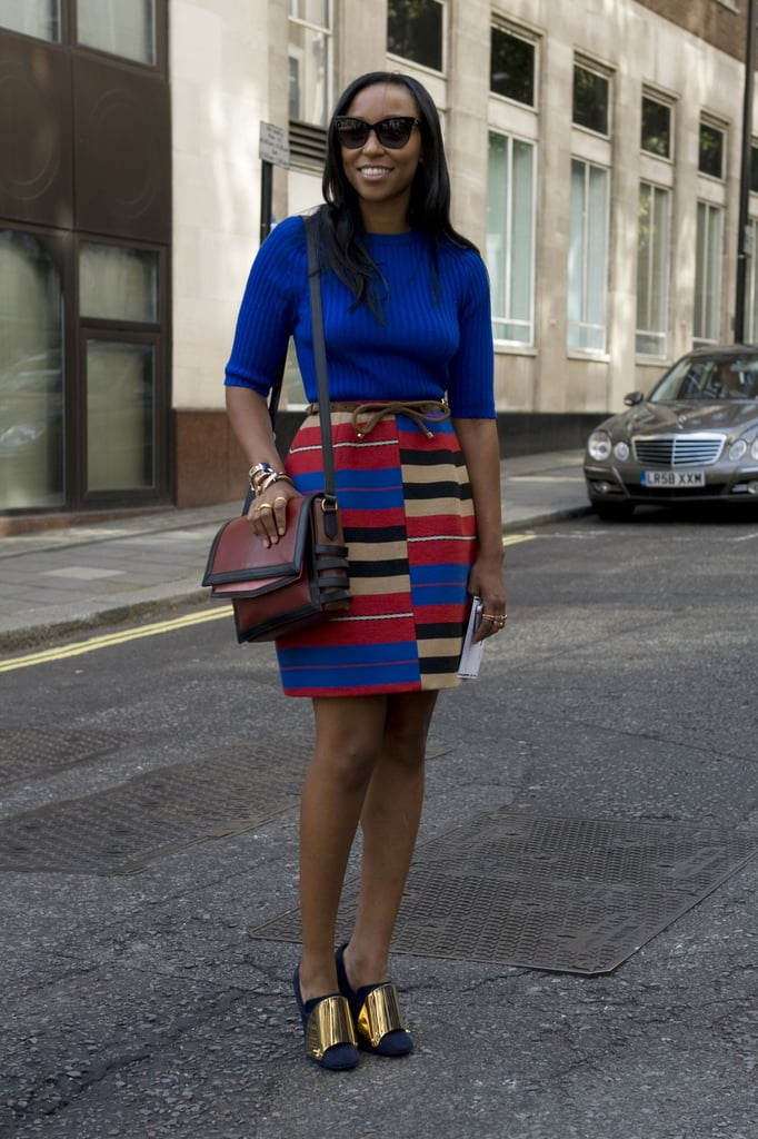Rich blues, bold stripes, and a cool bust of metallics were at work in this statement-making skirt style.