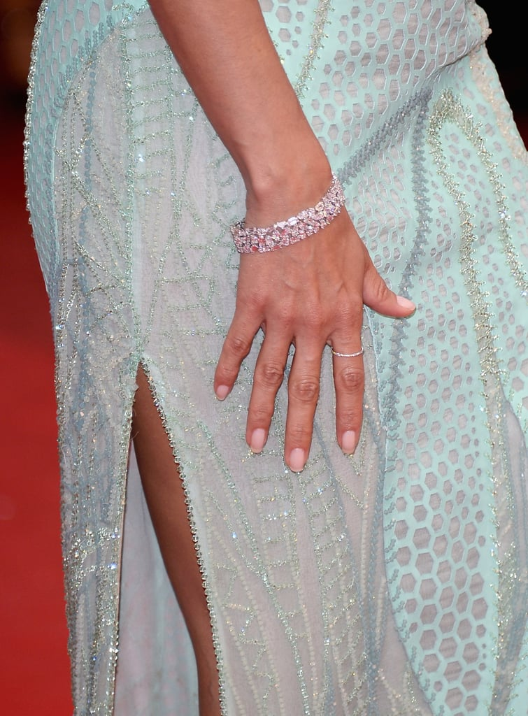 Eva Longoria wore a Chopard diamond bracelet and skinny diamond ring.