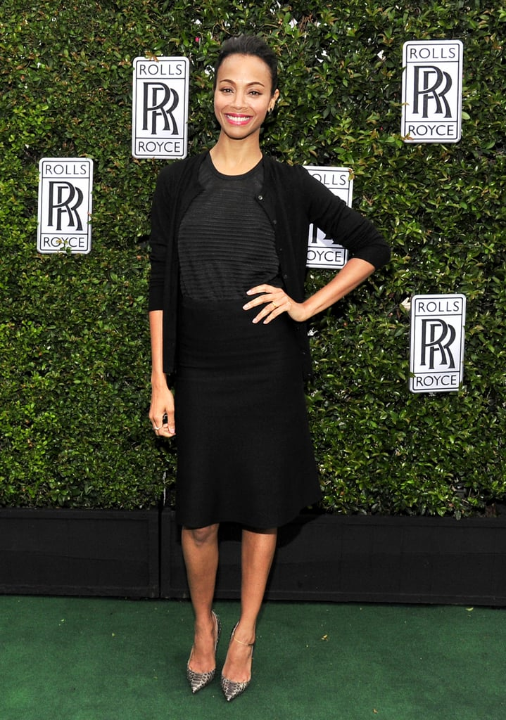 Zoe Saldana wore a black ensemble.