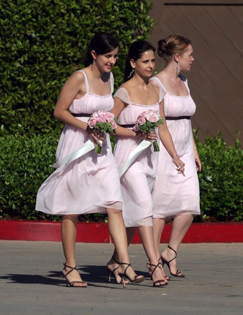 Sarah Michelle Gellar wore pink as a bridesmaid in her pal's August 2006 wedding in Santa Monica.