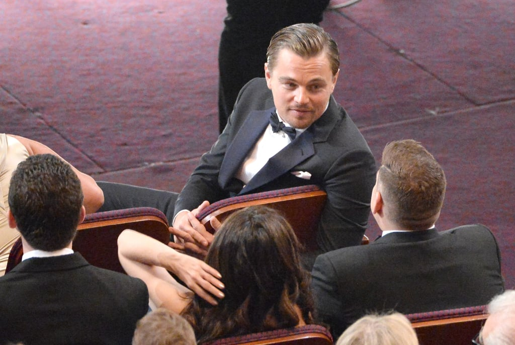 During the show, Leonardo DiCaprio chatted up his The Wolf of Wall Street costar Jonah Hill.