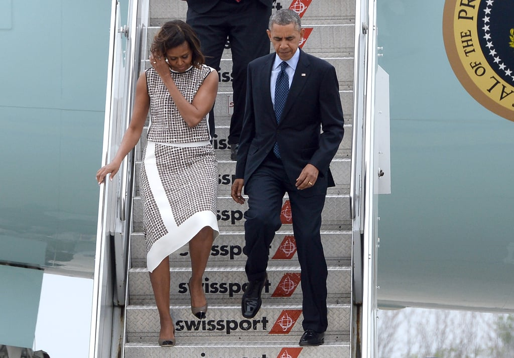 Michelle emerged from Air Force One in an asymmetric two-piece set that's totally eye-catching and made us completely rethink our own airport style.