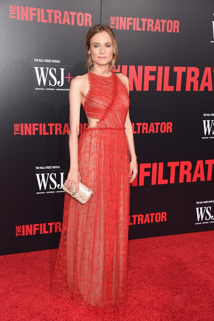 Diane looked lovely at the New York premiere of The Infiltrator wearing a Jason Wu dress accessorized with Repossi jewels.