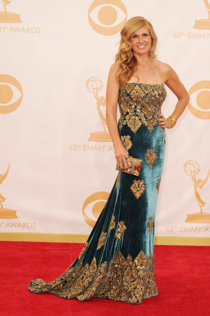 Connie Britton went for luxury in a velvet Naeem Khan Fall 2013 gown embroidered with gold.