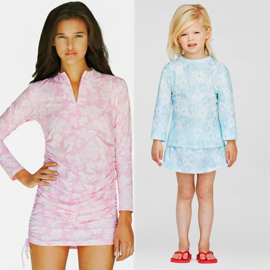 Parasol Bimini Swim Dress ($275) and Daisy Blue Ruched Top and Board Short ($95)