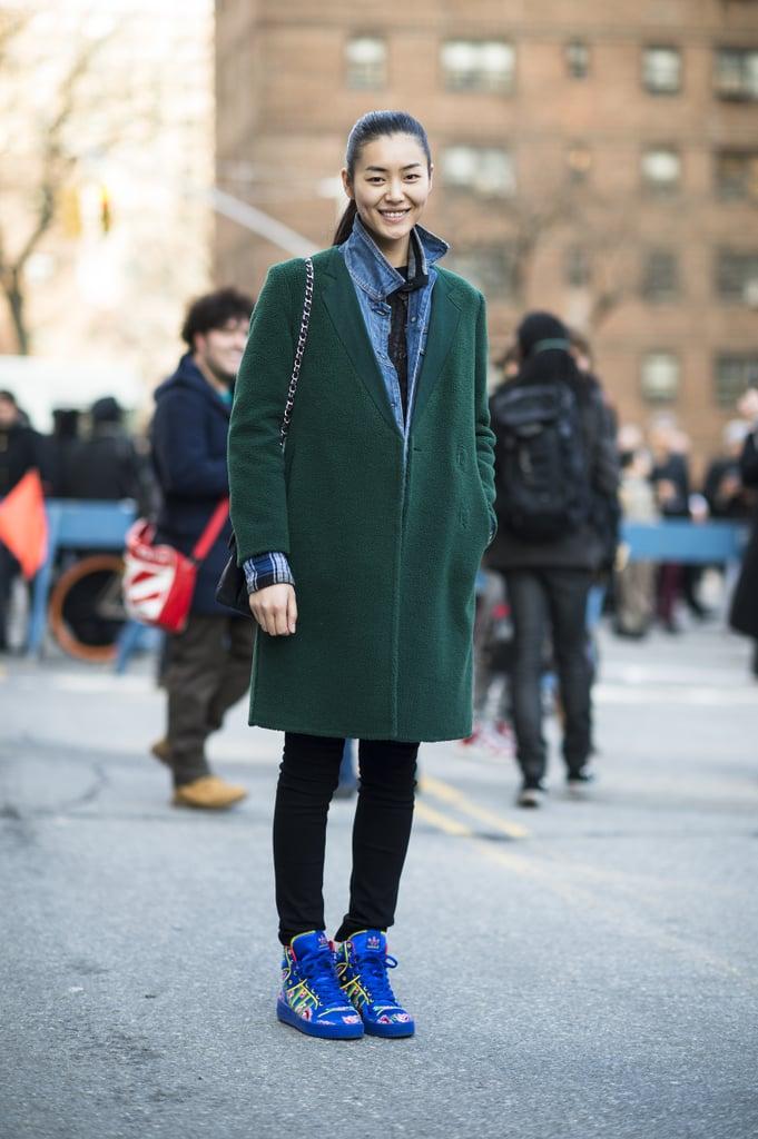 Gorgeous, understated outerwear got a fresh update with high-wattage high-tops. Source: Le 21ème   Adam Katz Sinding