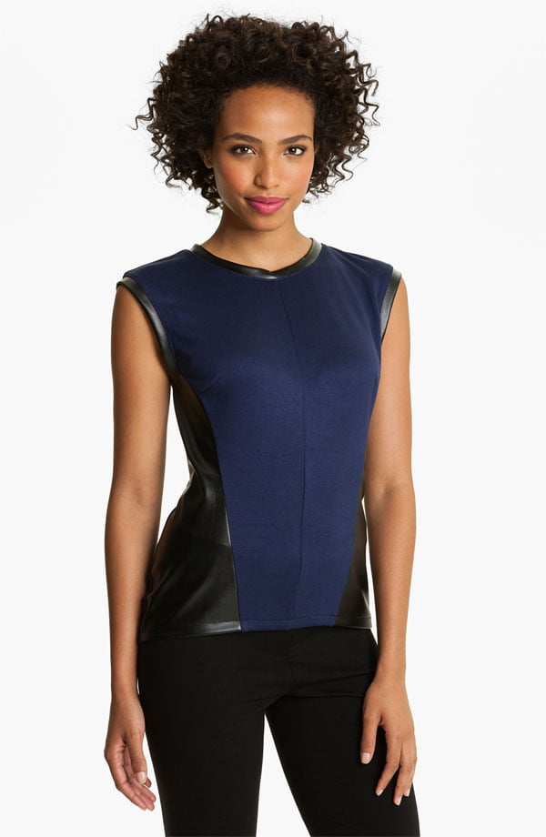 We love the sleek and sharp silhouette of this Halogen Mixed Media Shell ($59) top. The combination of navy and black will make any outfit effortlessly chic.