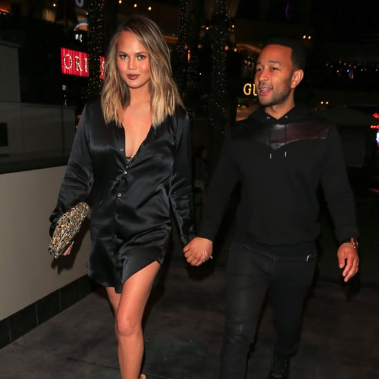 Chrissy Teigen Wearing a Black Satin Dress June 2016