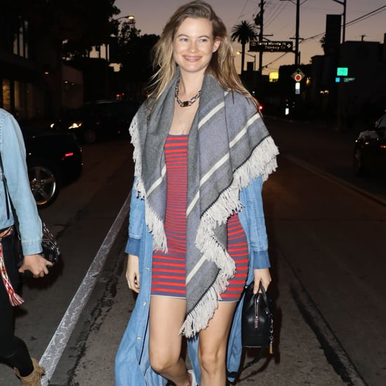 Behati Prinsloo Wearing Orange Striped Dress 2016