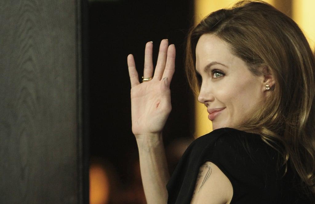 Angelina Jolie doing press.