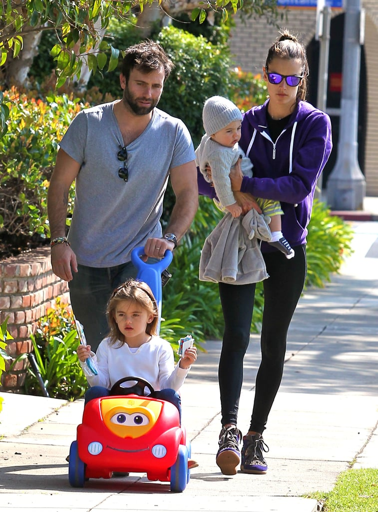 Alessandra Ambrosio and Jamie Mazur took their kids, Anja and Noah, out for a stroll in LA.