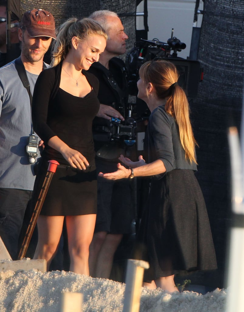 Natalie Portman reported to set to film with Holly Hunter in Austin, TX.