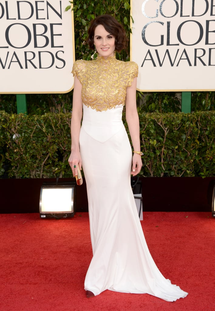 At the Golden Globes, the award-nominated actress showed off a stunning gilded Alexandre Vauthier gown.