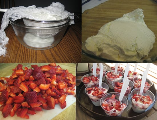 """Next make the yogurt parfaits. Strain the yogurt and assemble the night before the brunch.  To ensure that the yogurts aren't forgotten at the back of the fridge, add """"plate parfaits"""" to your morning to-do list."""