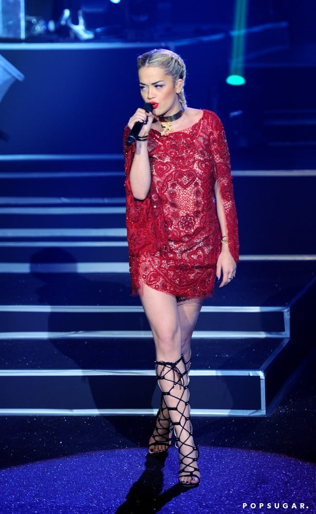 Rita Ora performed at the Etam lingerie show in Paris for Fashion Week in February.