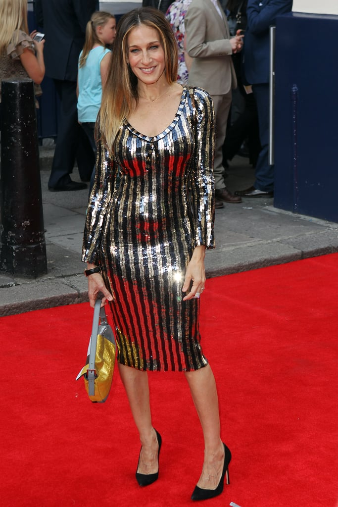 Forget the chocolate, we want the decadent black and gold Marc Jacobs retro creation SJP wore for Charlie and the Chocolate Factory's June 2013 London premiere.